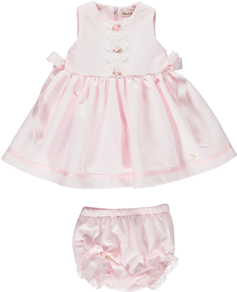 Piccola Speranza Pink Dress With Bows And Jam Pants